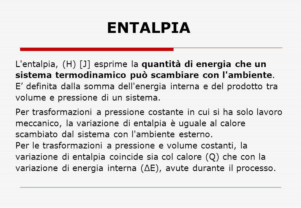 ENTALPIA L entalpia, (H) [J] esprime la quantità di energia che un
